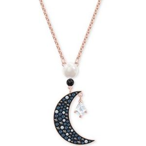 Swarovski Rose Gold-Tone Crystal Moon Necklace
